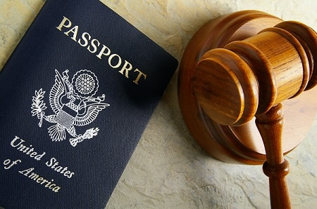 a passport and a gavel